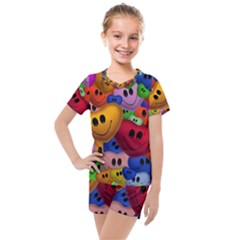 Heart Love Smile Smilie Kids  Mesh Tee And Shorts Set