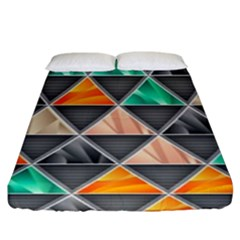 Abstract Geometric Triangle Shape Fitted Sheet (king Size) by Nexatart