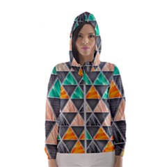 Abstract Geometric Triangle Shape Hooded Windbreaker (women)