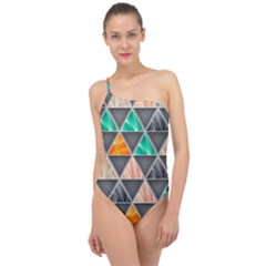 Abstract Geometric Triangle Shape Classic One Shoulder Swimsuit