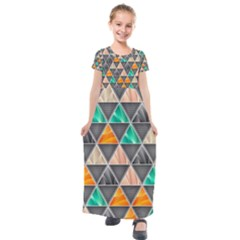 Abstract Geometric Triangle Shape Kids  Short Sleeve Maxi Dress