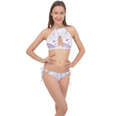 Abstract Background Flowers Cross Front Halter Bikini Set
