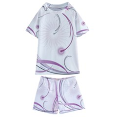 Abstract Background Flowers Kids  Swim Tee And Shorts Set