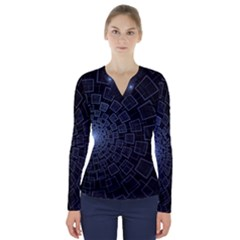 Pattern Abstract Fractal Art V Neck Long Sleeve Top