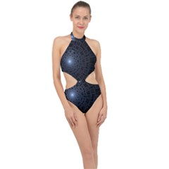 Pattern Abstract Fractal Art Halter Side Cut Swimsuit