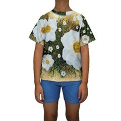 Summer Anemone Sylvestris Kids  Short Sleeve Swimwear by Nexatart