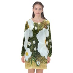 Summer Anemone Sylvestris Long Sleeve Chiffon Shift Dress