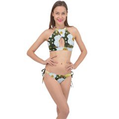 Summer Anemone Sylvestris Cross Front Halter Bikini Set