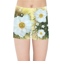Summer Anemone Sylvestris Kids Sports Shorts