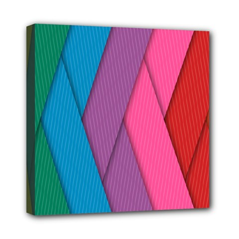 Abstract Background Colorful Strips Mini Canvas 8  X 8  by Nexatart