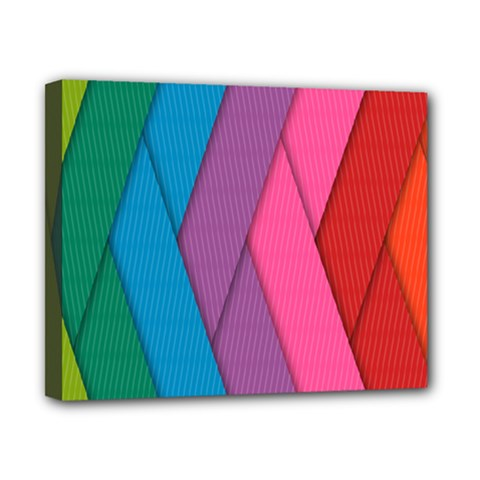 Abstract Background Colorful Strips Canvas 10  X 8  by Nexatart