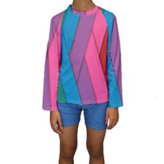 Abstract Background Colorful Strips Kids  Long Sleeve Swimwear by Nexatart