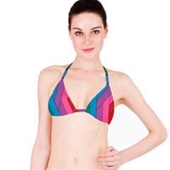 Abstract Background Colorful Strips Bikini Top by Nexatart