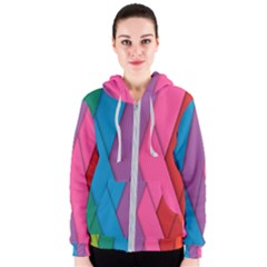 Abstract Background Colorful Strips Women s Zipper Hoodie by Nexatart