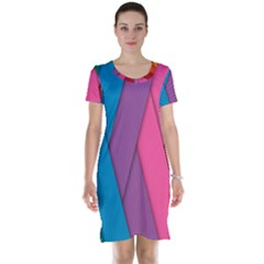 Abstract Background Colorful Strips Short Sleeve Nightdress by Nexatart