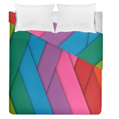 Abstract Background Colorful Strips Duvet Cover Double Side (queen Size) by Nexatart