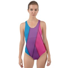 Abstract Background Colorful Strips Cut Out Back One Piece Swimsuit