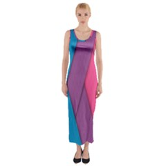 Abstract Background Colorful Strips Fitted Maxi Dress by Nexatart