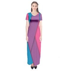 Abstract Background Colorful Strips Short Sleeve Maxi Dress by Nexatart