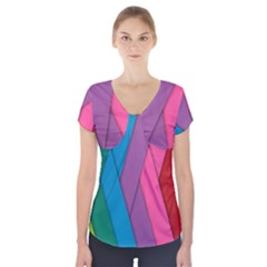 Abstract Background Colorful Strips Short Sleeve Front Detail Top by Nexatart
