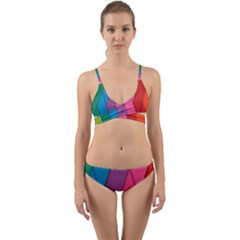 Abstract Background Colorful Strips Wrap Around Bikini Set by Nexatart