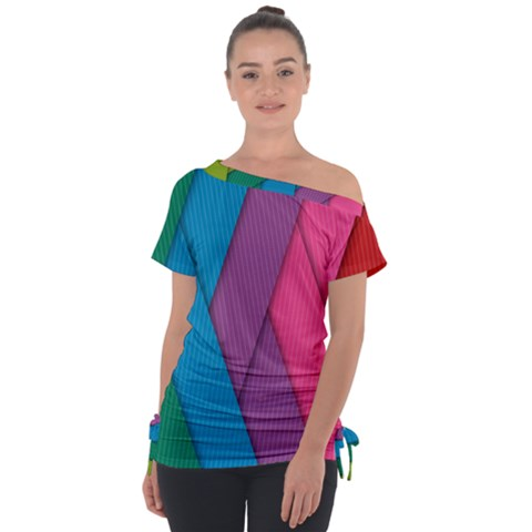 Abstract Background Colorful Strips Tie-up Tee by Nexatart