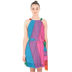 Abstract Background Colorful Strips Halter Collar Waist Tie Chiffon Dress