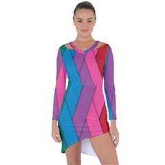 Abstract Background Colorful Strips Asymmetric Cut Out Shift Dress
