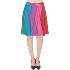 Abstract Background Colorful Strips Velvet High Waist Skirt