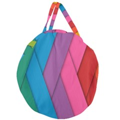 Abstract Background Colorful Strips Giant Round Zipper Tote