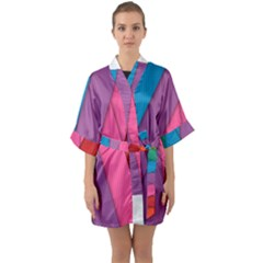 Abstract Background Colorful Strips Quarter Sleeve Kimono Robe by Nexatart