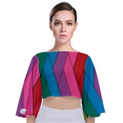 Abstract Background Colorful Strips Tie Back Butterfly Sleeve Chiffon Top
