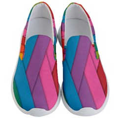 Abstract Background Colorful Strips Men s Lightweight Slip Ons