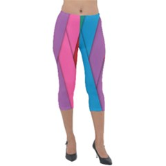 Abstract Background Colorful Strips Lightweight Velour Capri Leggings
