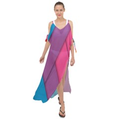 Abstract Background Colorful Strips Maxi Chiffon Cover Up Dress by Nexatart