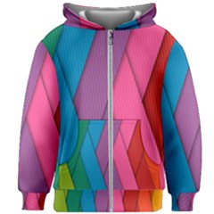 Abstract Background Colorful Strips Kids Zipper Hoodie Without Drawstring by Nexatart