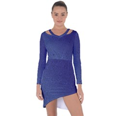 Fractal Rendering Background Blue Asymmetric Cut Out Shift Dress