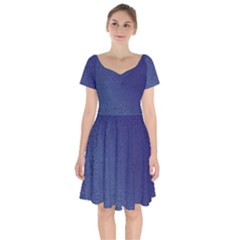 Fractal Rendering Background Blue Short Sleeve Bardot Dress