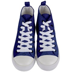 Fractal Rendering Background Blue Women s Mid Top Canvas Sneakers