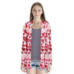 Abstract Background Decoration Hearts Love Drape Collar Cardigan