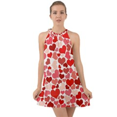 Abstract Background Decoration Hearts Love Halter Tie Back Chiffon Dress