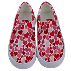 Abstract Background Decoration Hearts Love Kids  Canvas Slip Ons