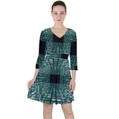 Abstract Perspective Background Ruffle Dress