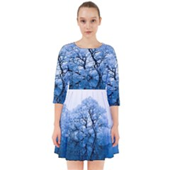 Nature Inspiration Trees Blue Smock Dress