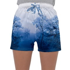 Nature Inspiration Trees Blue Sleepwear Shorts