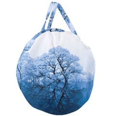 Nature Inspiration Trees Blue Giant Round Zipper Tote