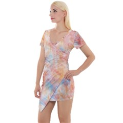 Wallpaper Design Abstract Short Sleeve Asymmetric Mini Dress by Nexatart