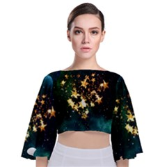 Heart Love Universe Space All Sky Tie Back Butterfly Sleeve Chiffon Top by Nexatart