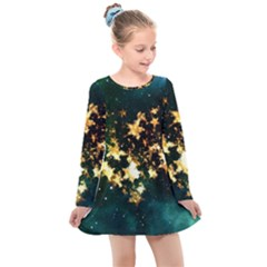 Heart Love Universe Space All Sky Kids  Long Sleeve Dress