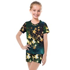 Heart Love Universe Space All Sky Kids  Mesh Tee And Shorts Set